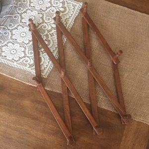 Vintage boho wood accordion rack